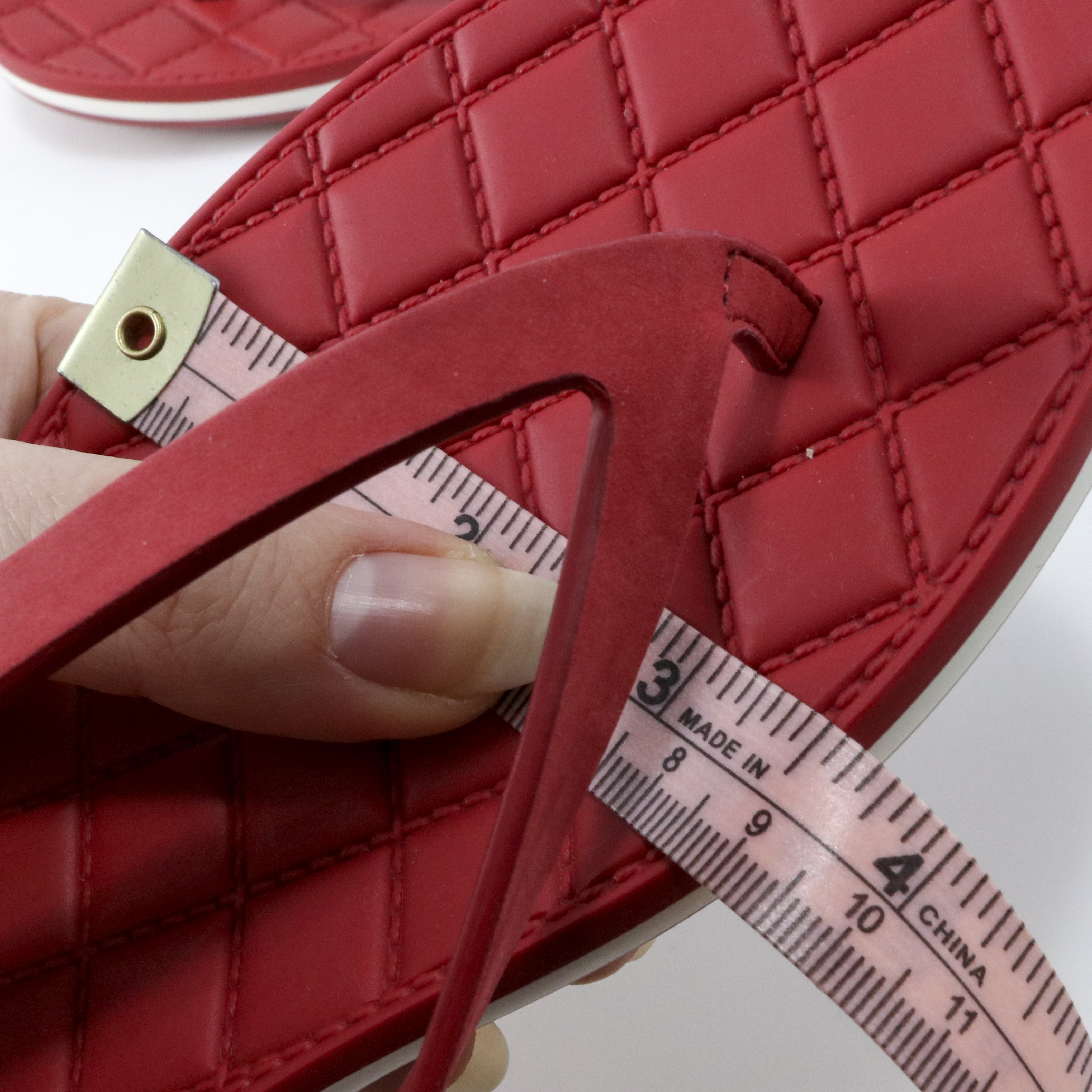 b447e940296df Chanel 15P 36.5 Red Suede Calf Quilted Rubber Thong Flip Flops Sandals A672