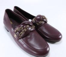 52559eb2d Chanel 17A 41.5 Burgundy Lambskin Braided Chain Strap Logo Mocassins  Loafers B133