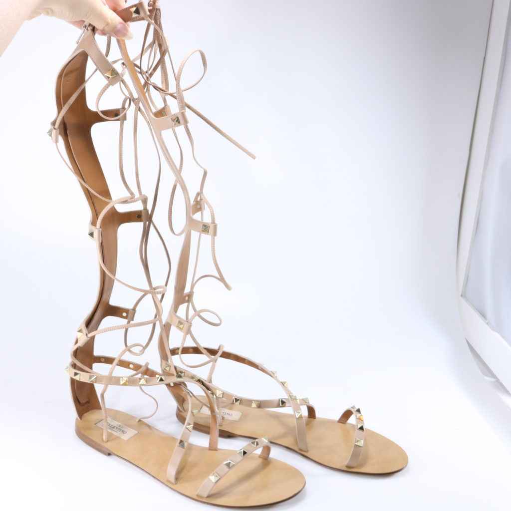 Valentino Nude Rockstud Beige Ankle Strap Lace Up Tie