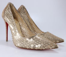 797994483937 Christian Louboutin 38.5 Nude Paillettes Sequin lace 554 100mm Pump B366