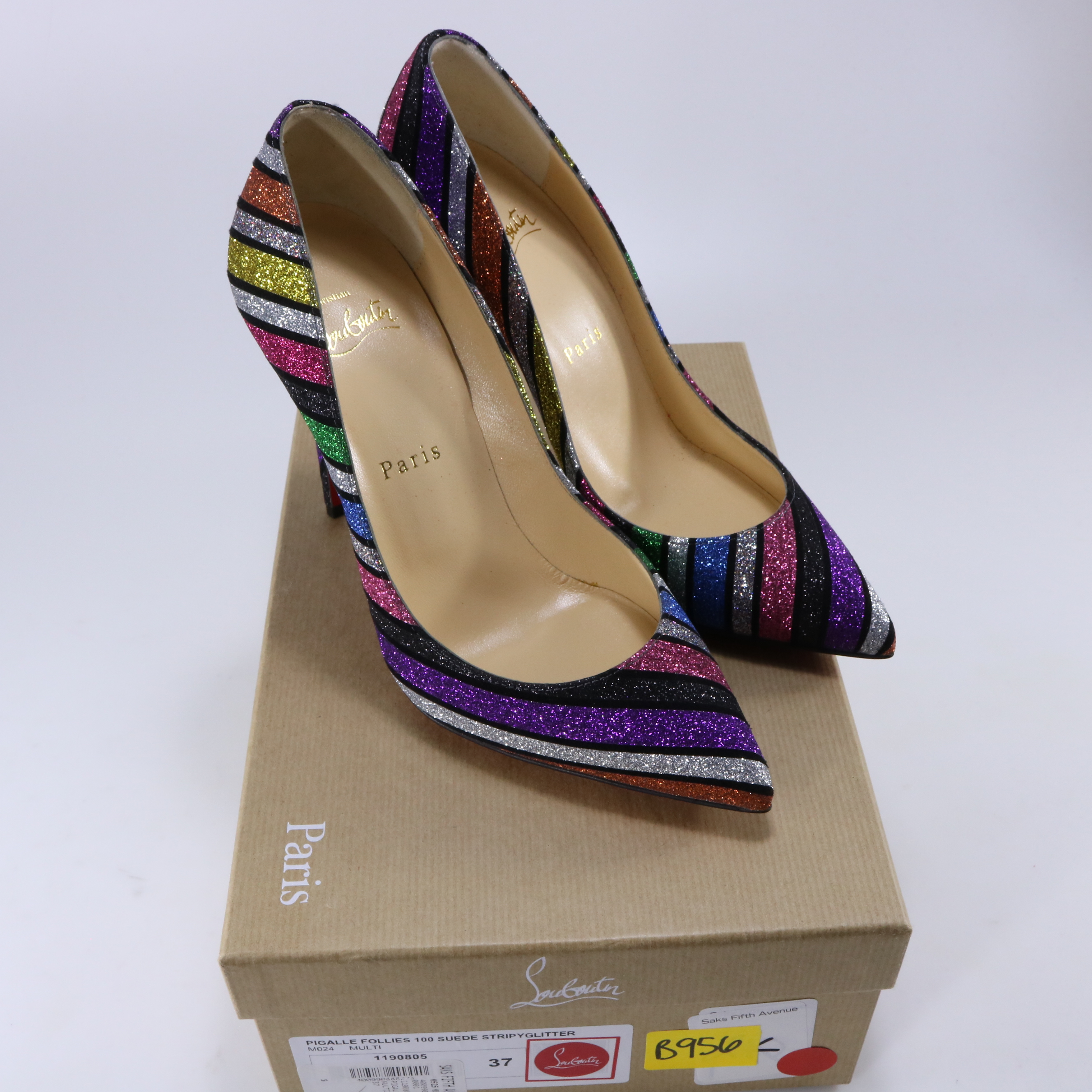 best service 32a4d 2567f Christian Louboutin 37 Pigalle Follies 100MM Multi Rainbow ...